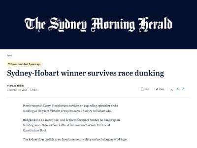 Sydney-Hobart winner survives race dunking
